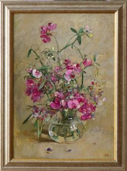Картина на холсте «Букет с душистым горошком» Штуц Е., масло, 50х35