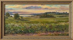 Картина на холсте «Вечер. Вид на Плещеево озеро» Мумолина О., масло, 30х60