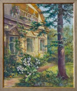 Картина на холсте «Дом под елью» Охримец О., масло, 50х60