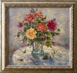 Картина на холсте «Розы, освещенные солнцем» Мумолина О., масло, 60х65