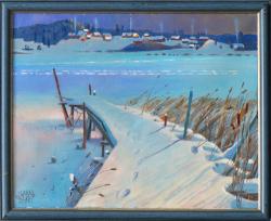 Картина на холсте «Вечер на р. Мере» Максютин И., масло, 40х50