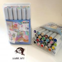 Набор перманентных спиртовых маркеров-кистей Marvy фирмы  Uchida, Япония 23 штуки + блендер