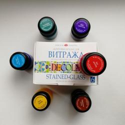 Набор акриловых красок для витража Декола 6х20 мл DECOLA 6 цветов