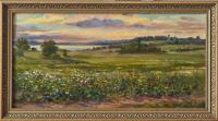 Мумолина О. «Вечер. Вид на Плещеево озеро». Холст, масло, 30х60
