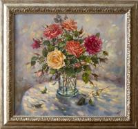 Мумолина О. «Розы, освещенные солнцем». Холст, масло, 60х65