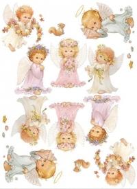"""Декупажная карта """"Маленькие ангелы"""", формат А4"""